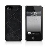 MACALLY Apple iPhone 5 Texture Snap On Case With Classic Faux Leather Exterior Finish [WEAVE5] - Black - Casing Handphone / Case